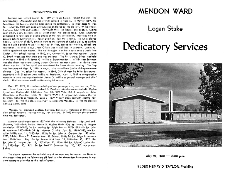Dedication of the Mendon Ward building, program cover