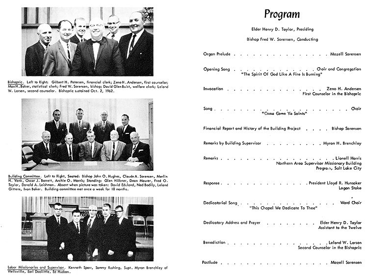Dedication of the Mendon Ward building, program inside