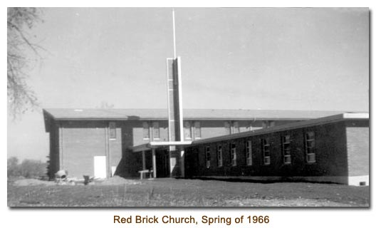 Mendon's Red Brick Church in the spring of 1966