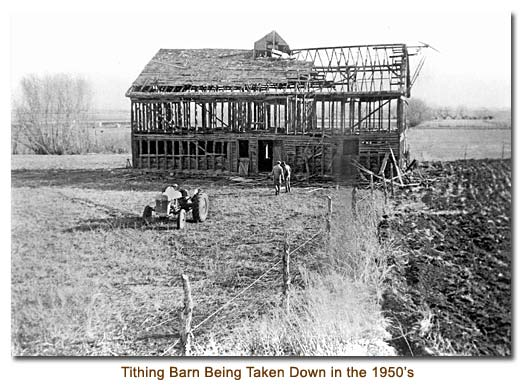 Tithing Barn Being Taken Down in the 1950's