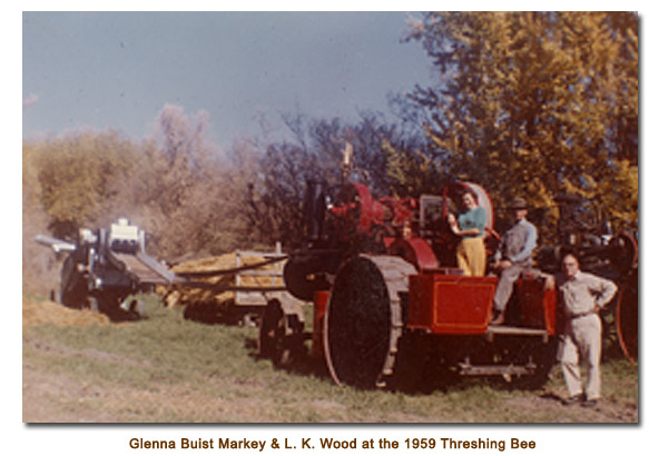 Glennna Buist & L. K. Wood at the 1959 Threshing Bee