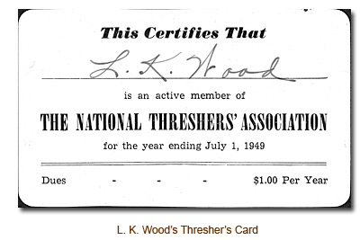 L. K. Wood's National Threshers' Association Card.
