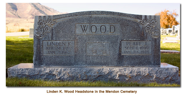 Linden K. Wood Headstone in the Mendon Cemetery