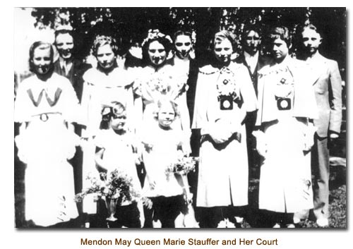 Mendon May Day Queen Marie Stauffer and Her Court.