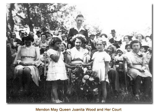 Mendon May Queen Juanita Wood and her May Day Court.