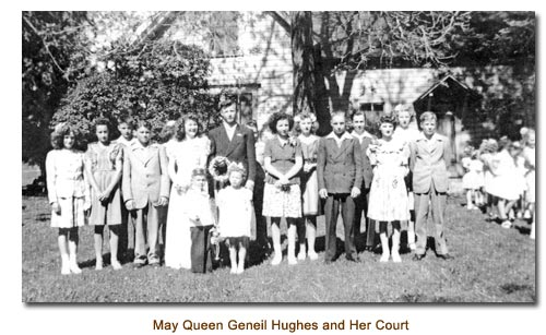 Mendon May Queen Geneil Hughes and her May Day court.