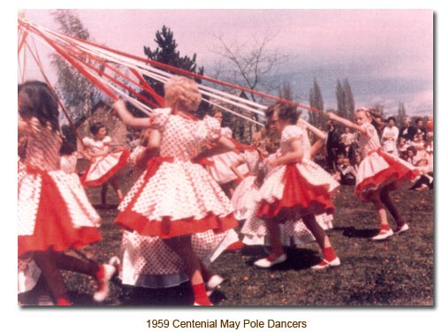 Mendon May Pole Dancers for 1959.