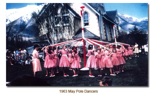 1963 Mendon May Day, May Pole Dancers.