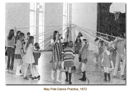 May Pole Practice inside the church in 1972.