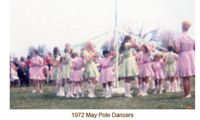 1972 Mendon May Day, May Pole Dancers.