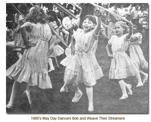 1980's Mendon May Day Danccers Bob and Weave Their Streamers