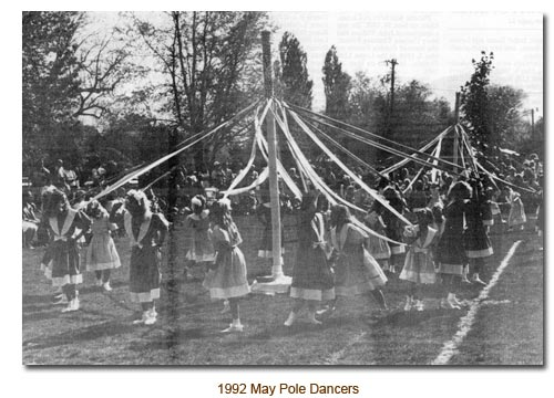Mendon May Pole Dancers for 1992.