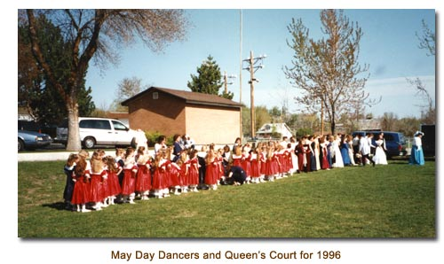 Mendon May Day Dancers and Queen's Court for 1996.