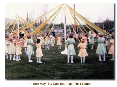 The Mendon May Day Dancers Begin Their Dance Steps.