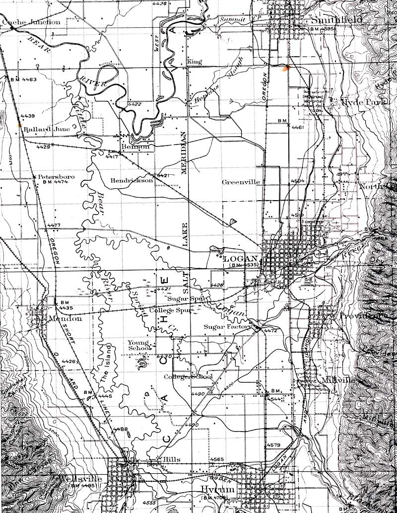 1916 Railroad Map of Mendon and Cache Valley